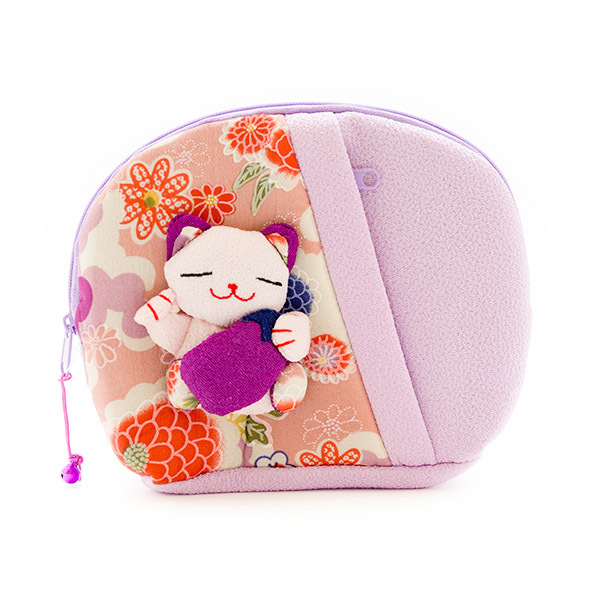10326 lucky cat make up bag purple