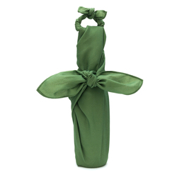 Green furoshiki bottle