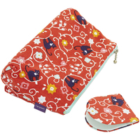 Make Up Bag With Hand Mirror  Red Cat And Flower Pattern