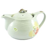 Ceramic Teapot  Grey With Plum Blossoms