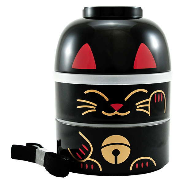 japan centre lucky cat kokeshi doll bento lunch box large black bento boxes. Black Bedroom Furniture Sets. Home Design Ideas
