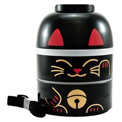 11429 kokeshi bento black lucky cat
