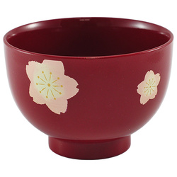 11503 miso soup bowl red sakura