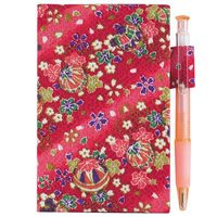 Memo Pad With Pen  Red Kimono Fabric