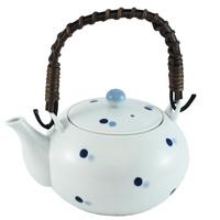 Ceramic Teapot  White Blue Spot Pattern