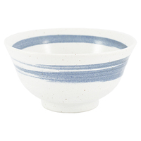 Ceramic Rice Bowl  White Blue Brushstroke Pattern