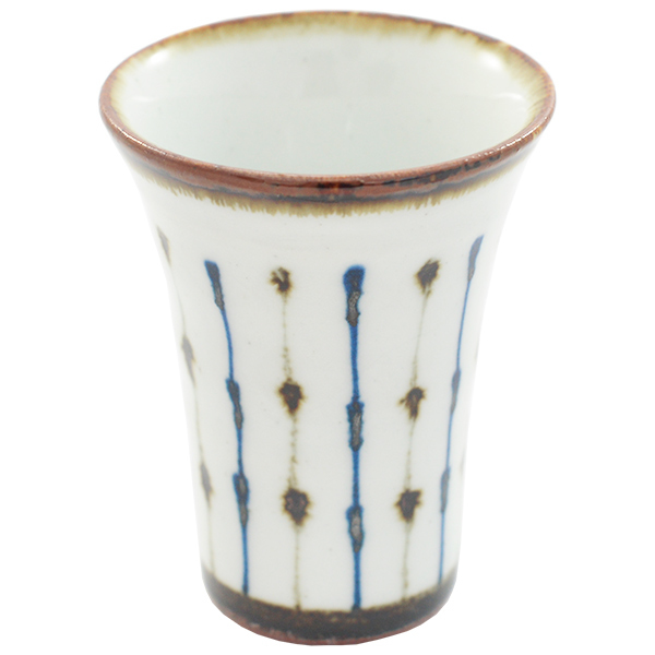 11654 cup white blue brown stripe pattern