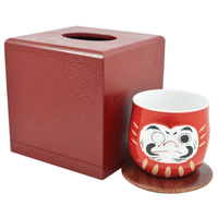 Ceramic Rocking Teacup With Wooden Box  Daruma