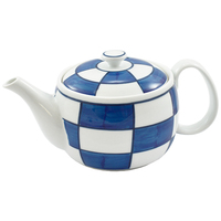 Ceramic Teapot  Blue Check Pattern