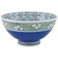 Ceramic Rice Bowl  Blue Assorted Flower Patterns