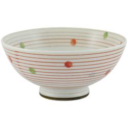 11908 bowl red stripe spot pattern