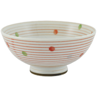 Ceramic Rice Bowl  White Red Lines And Dots Pattern