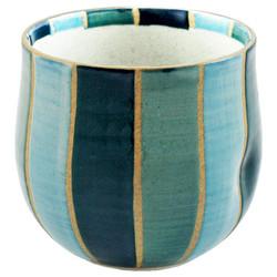 11681 ceramic rocking teacup blue stripe pattern