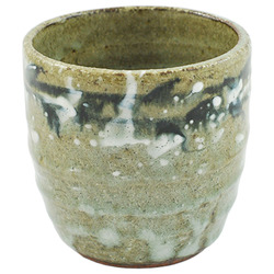 11818 ceramic shochu cup grey brushstroke pattern
