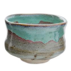 11726 ceramic matcha bowl blue sandy brown