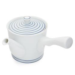 11665 ceramic teapot blue stripe