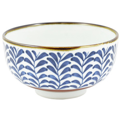 11832 ceramic rice bowl blue foliage pattern