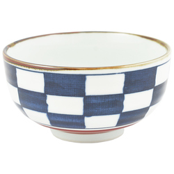 11822 ceramic rice bowl blue check pattern