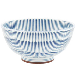 11899 ceramic light weight rice bowl large blue stripe