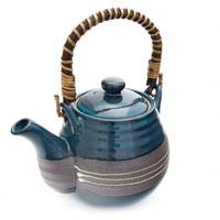 Ceramic Teapot  Blue And Brown White Stripes Pattern