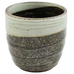 11817 ceramic shochu cup brown green brushstroke