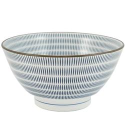 11577 ceramic serving bowl blue brown stripe