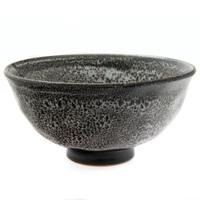 Ceramic Rice Bowl  Black And White Mottled Pattern