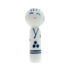 11854 ceramic chopstick rest white blue kokeshi