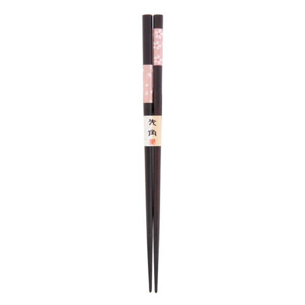 11539 wooden chopsticks black pink cherry blossom