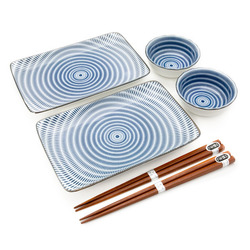 11567 ceramic dining set white blue concentric circle