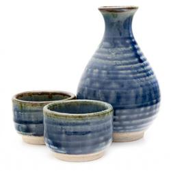 12276 ceramic sake set blue