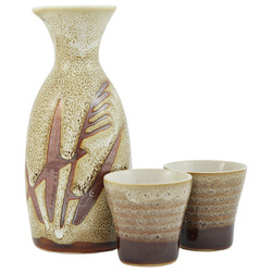 12279 ceramic sake set two cupts brown mottled