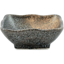 11803 ceramic soy sauce dish brown mottled