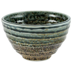 11815 ceramic rice bowl brown blue rim