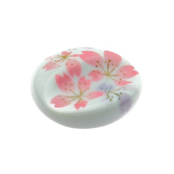 11861 ceramic round cherry blossom chopstick rest white pink