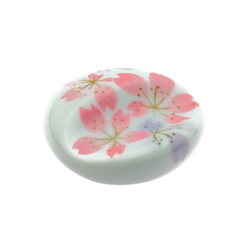 11861 ceramic round cherry blossom chopstick rest white pink
