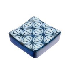 11860 ceramic square chopstick rest white blue japanese pattern