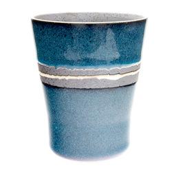 11766 ceramic teacup blue brown stripe