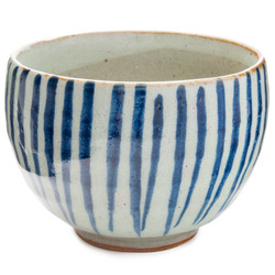 11610 ceramic teacup white blue stripe pattern