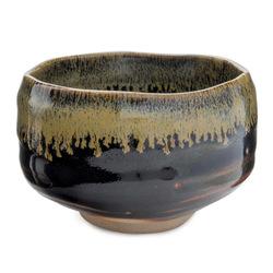 11730 ceramic matcha bowl black brown rim