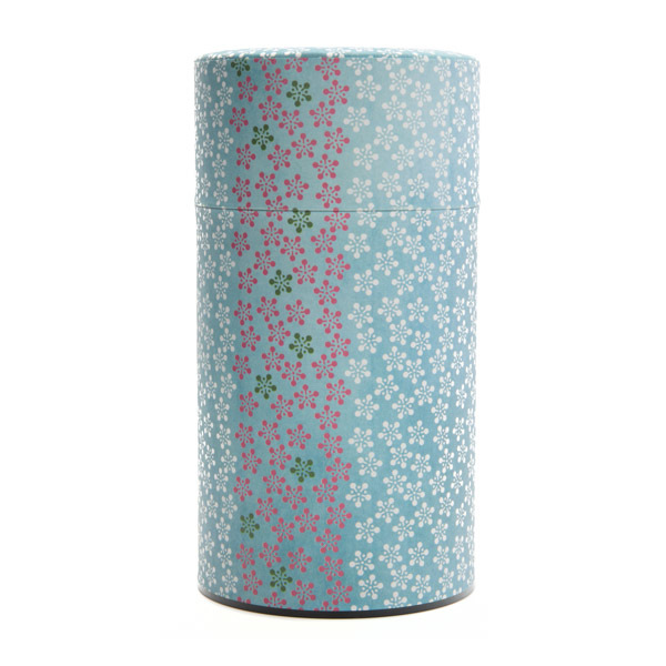 11916 tea canister large green flower pattern