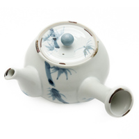 Ceramic Teapot  White Blue Bamboo Pattern