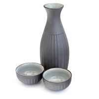 Ceramic Iron Coated Sake Set  Steel Grey