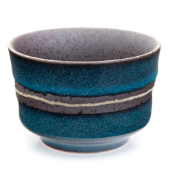 11769 ceramic sake ochoko cup blue brown stripe