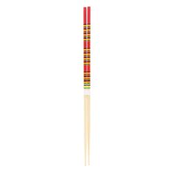 11855 wooden cooking chopsticks red yellow black stripe pattern
