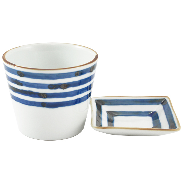 11660 ceramic cup side dish set blue stripe pattern