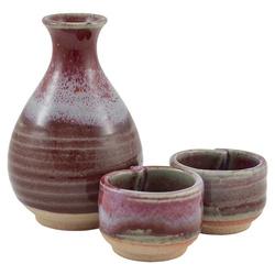 12277 ceramic sake set red