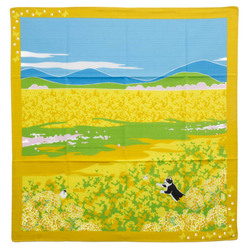11936 yamako a stroll with tama the cat furoshiki wrapping cloth yellow flower field