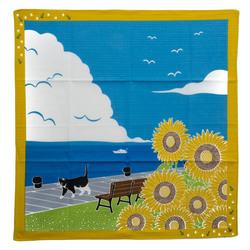 11927 yamako a stroll with tama the cat furoshiki wrapping cloth yellow sun flower sea shore