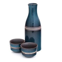 12462 ceramic sake set with two ochoko sake cups blue brown stripe